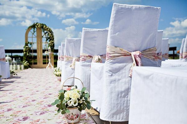 wedding ceremony set up in garden